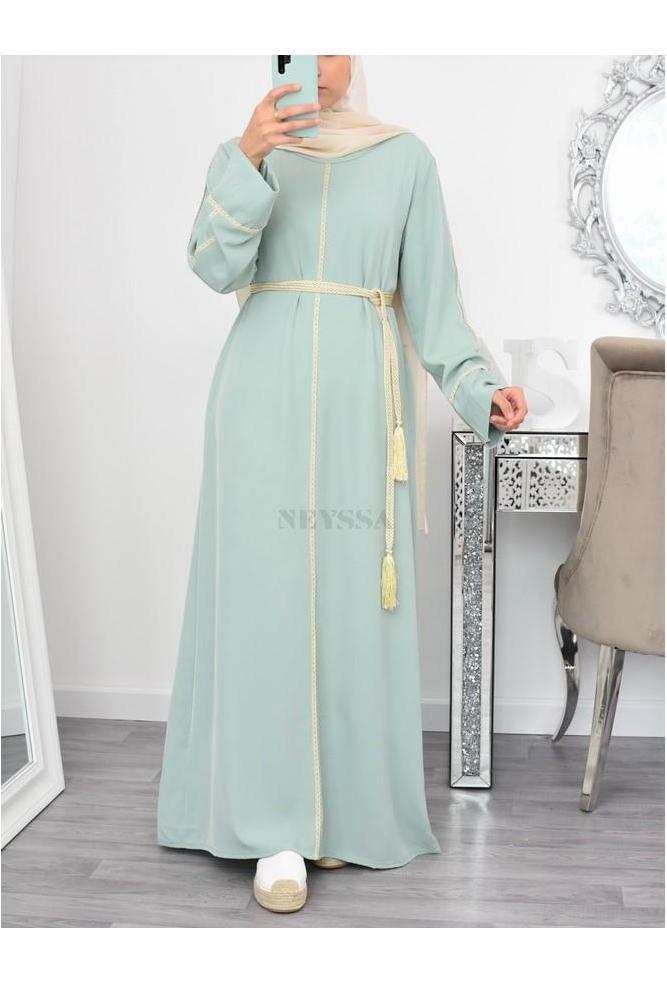 Robe Abaya Beiyah liseret dorée