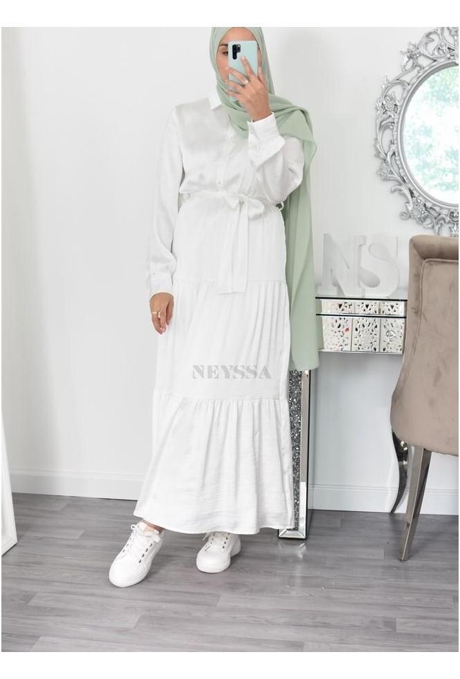 Robe chemise satin bohème
