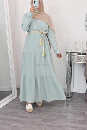 Flared long modest dress