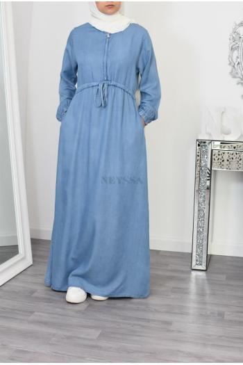 long hijab dress in soft jeans
