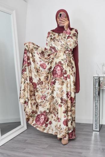 Robe longue évasée fleurie buste croisé