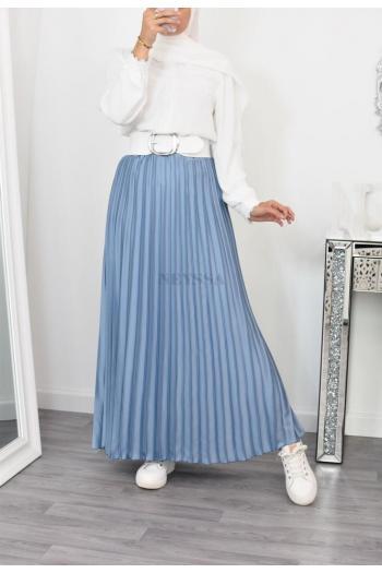 Jupe longue plissée satinée hijab