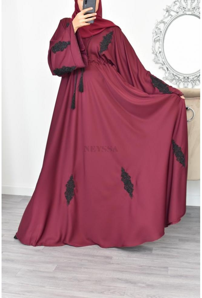 Abaya Kamiliane Bordeaux