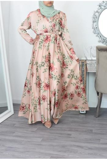 long floral cross bust dress