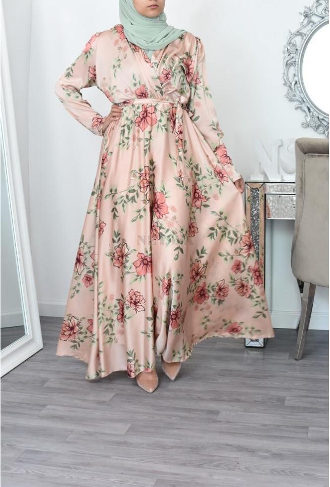 long floral cross bust dress