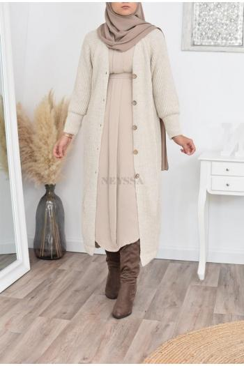 Long cardigan wool winter hijabi