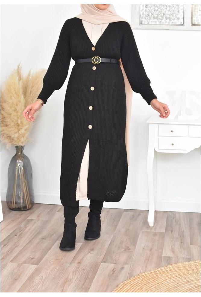 Long cardigan wool winter hijabi