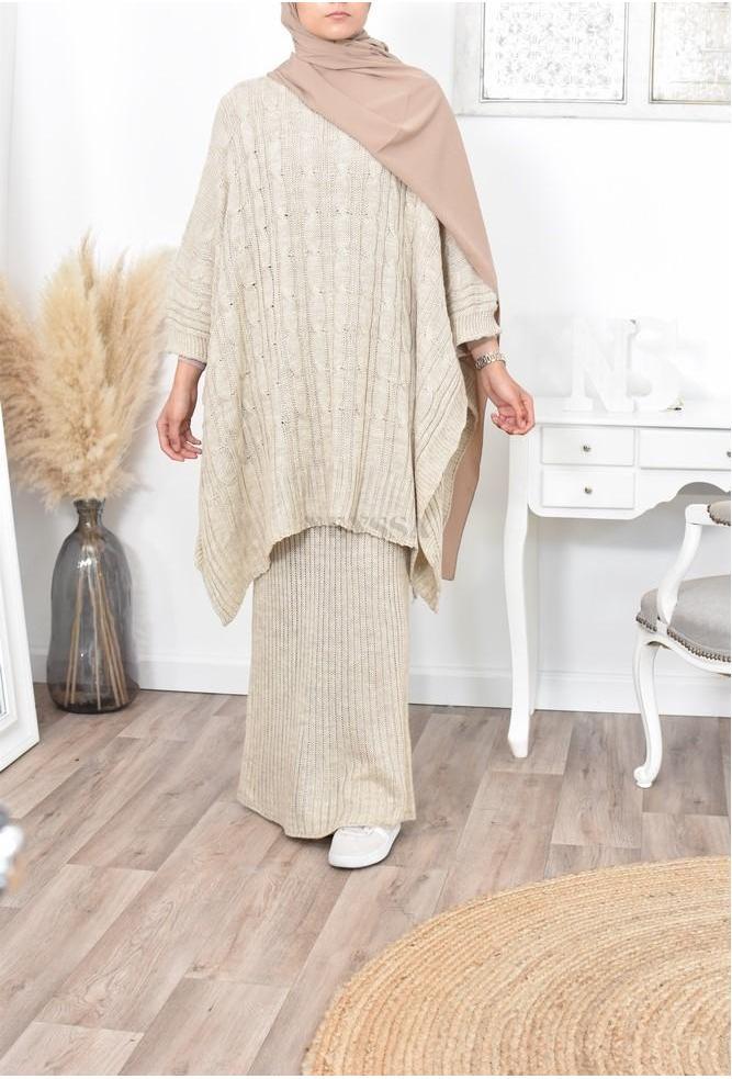 Modern Muslim woman's knitwear set: