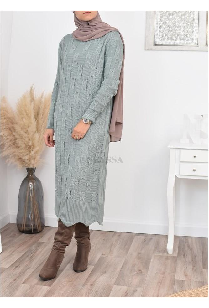 Long dress wool winter modest fashion