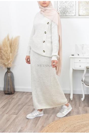 Set tunic and skirt Luna button