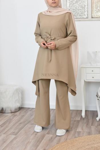 Ensemble pantalon tunique femme voilée