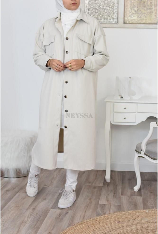 long winter check shirt hijabers