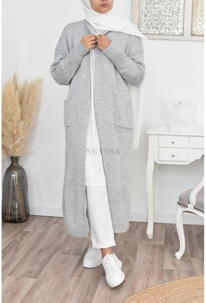 Cardigan long automne hiver hijaber