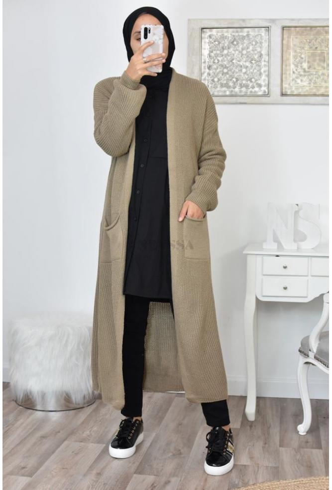Long cardigan pocket hijab store