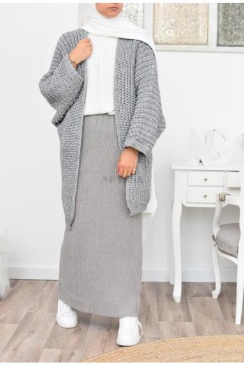 Jupe longue droite en laine pas cher