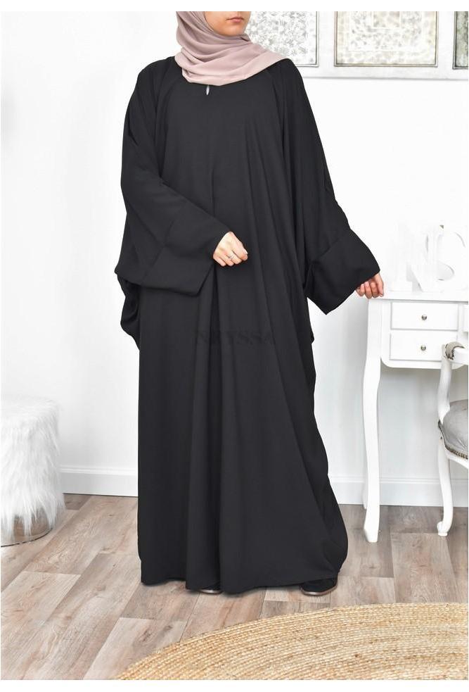 Abaya noire papillon large pas cher