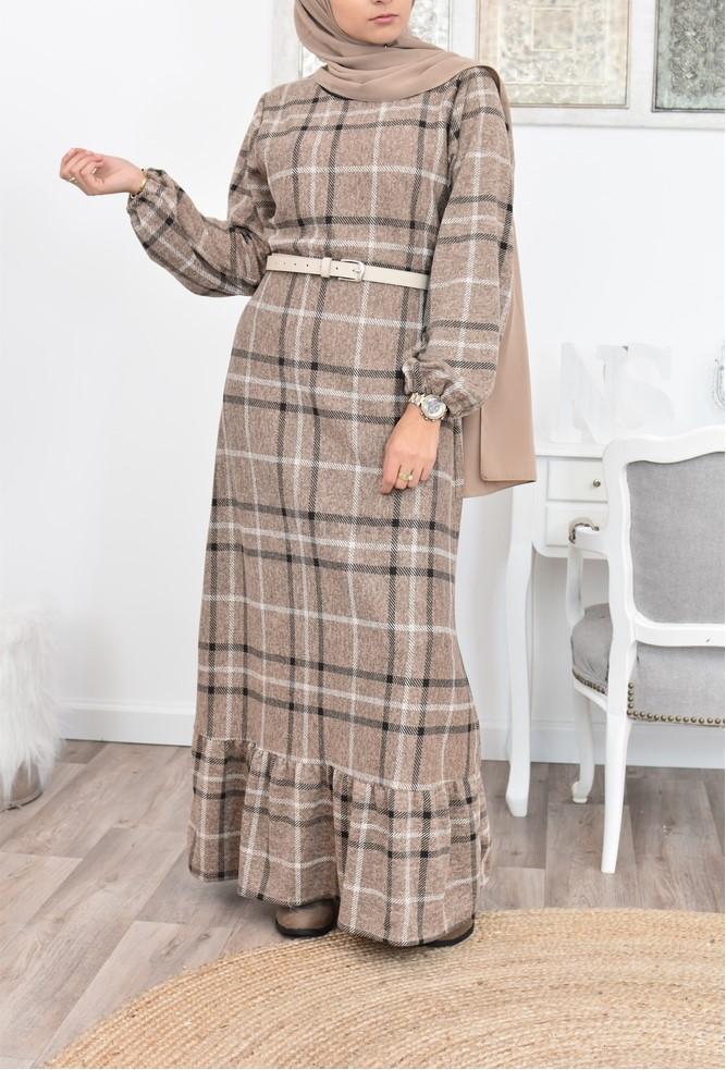 Robe longue à carreaux hiver pas cher