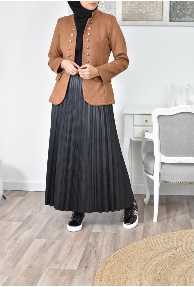 Jupe longue plissée simili cuir