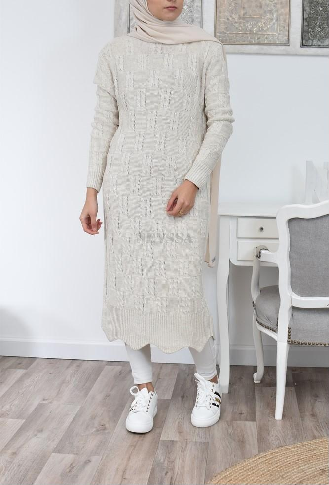 Robe longue Pull hiver femme voilée