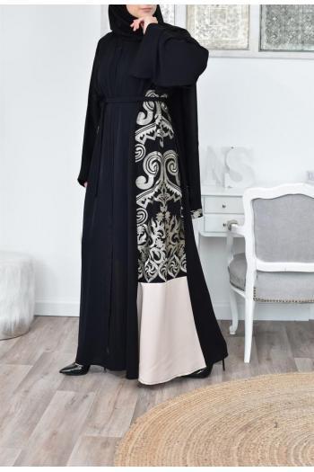 Abaya Kimono noir brodée cadeau aïd