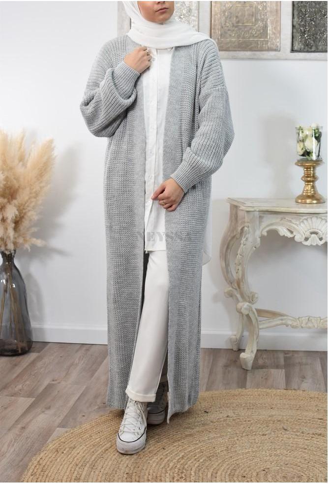 Long gilet oversize en tricot pour femme musulmane