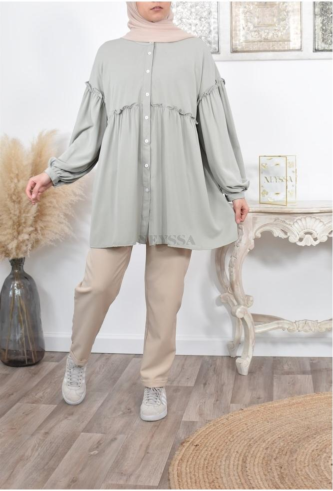 Cheap shirt tunic with puffed sleeves