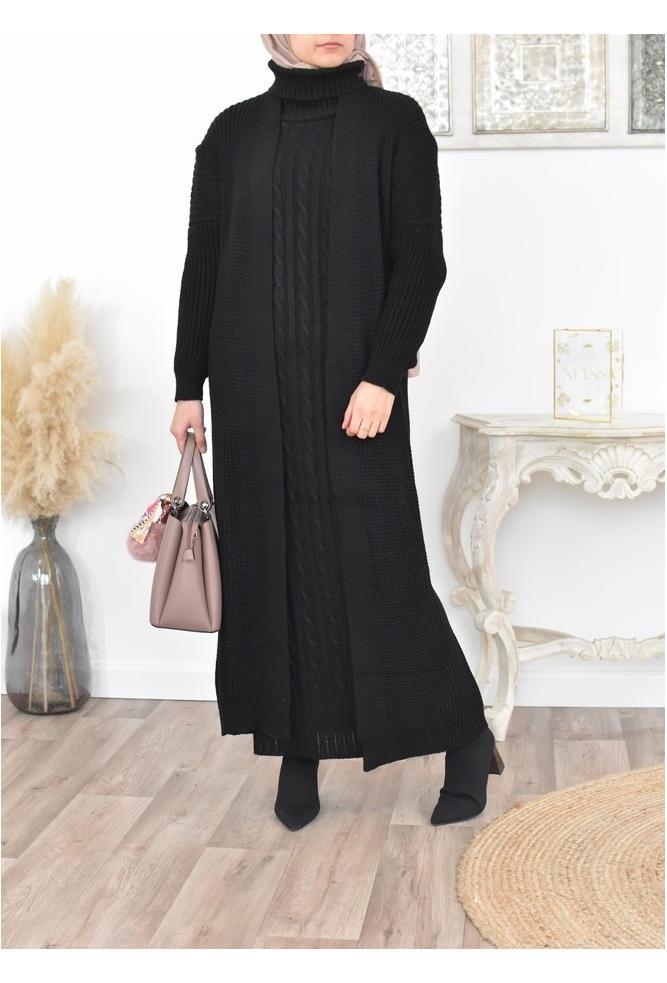 Ensemble robe et gilet en laine femme musulmane