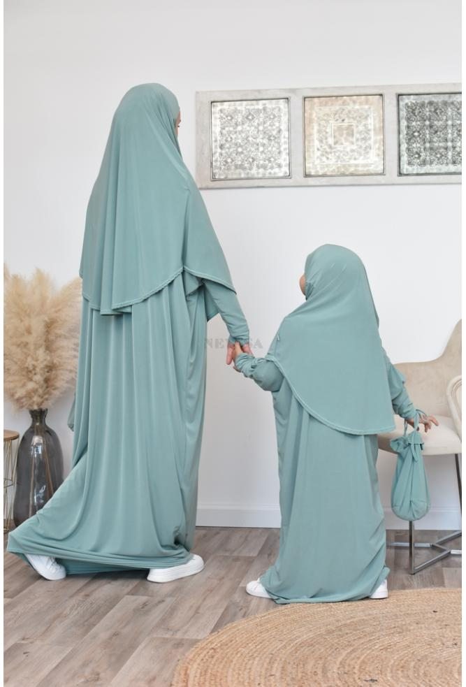 Abaya de prière hijab intégré avec sac de transport