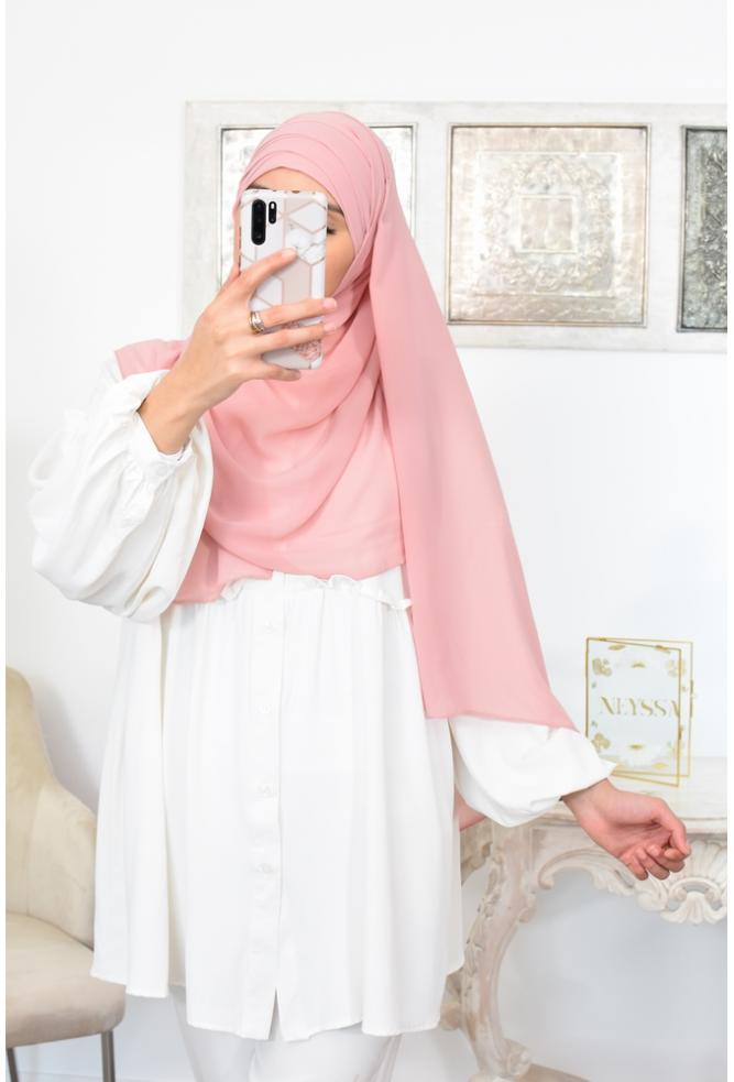 Double crossed preformed hijab