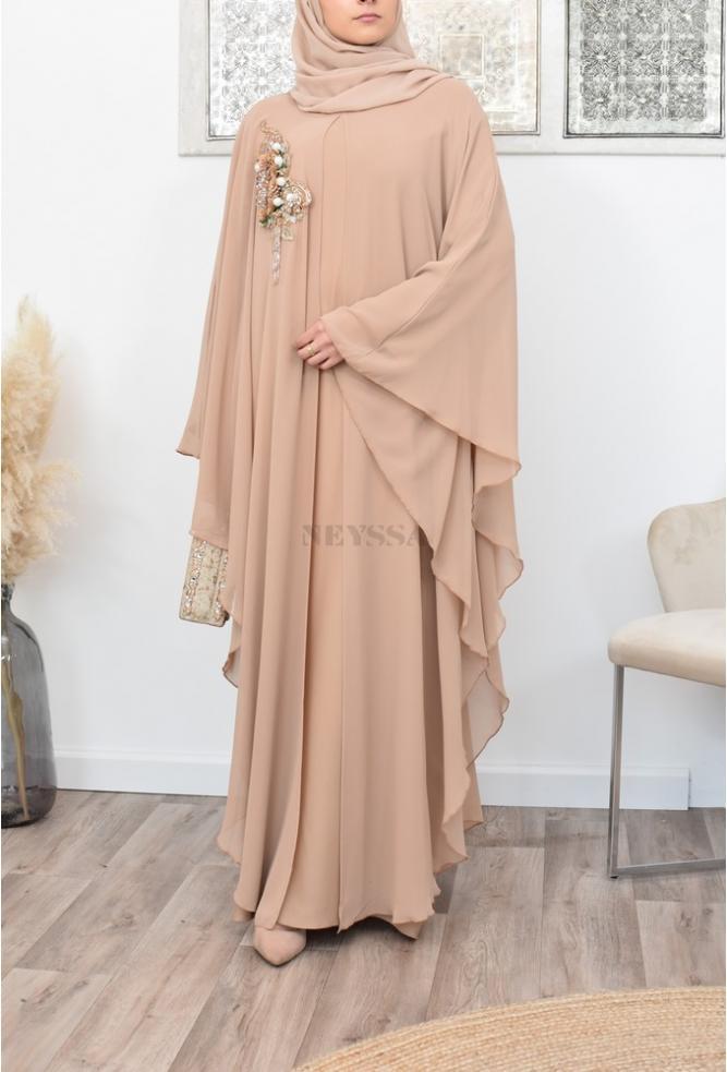 Abaya Dubai Papillon nude cape mastour