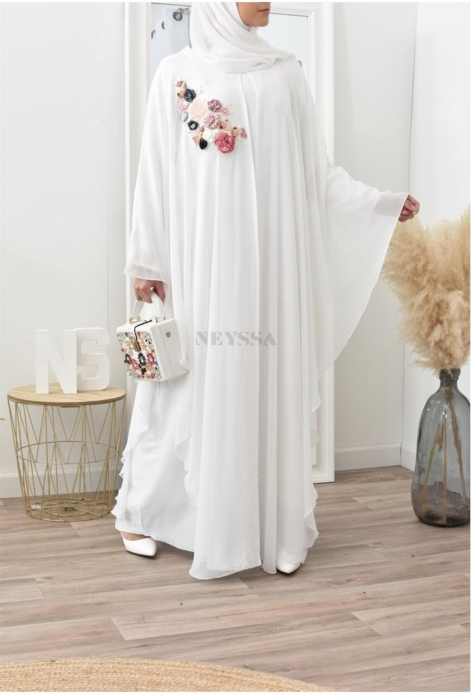 Abaya Dubai papillon mousseline blanche