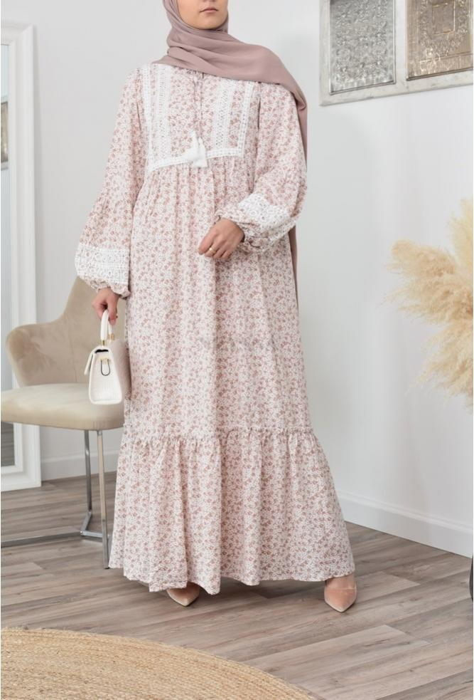 Robe longue bohème fleurie pour hijab