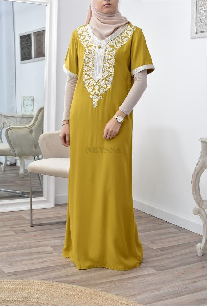 Gandoura interieur motif caftan pour ramadan 2021