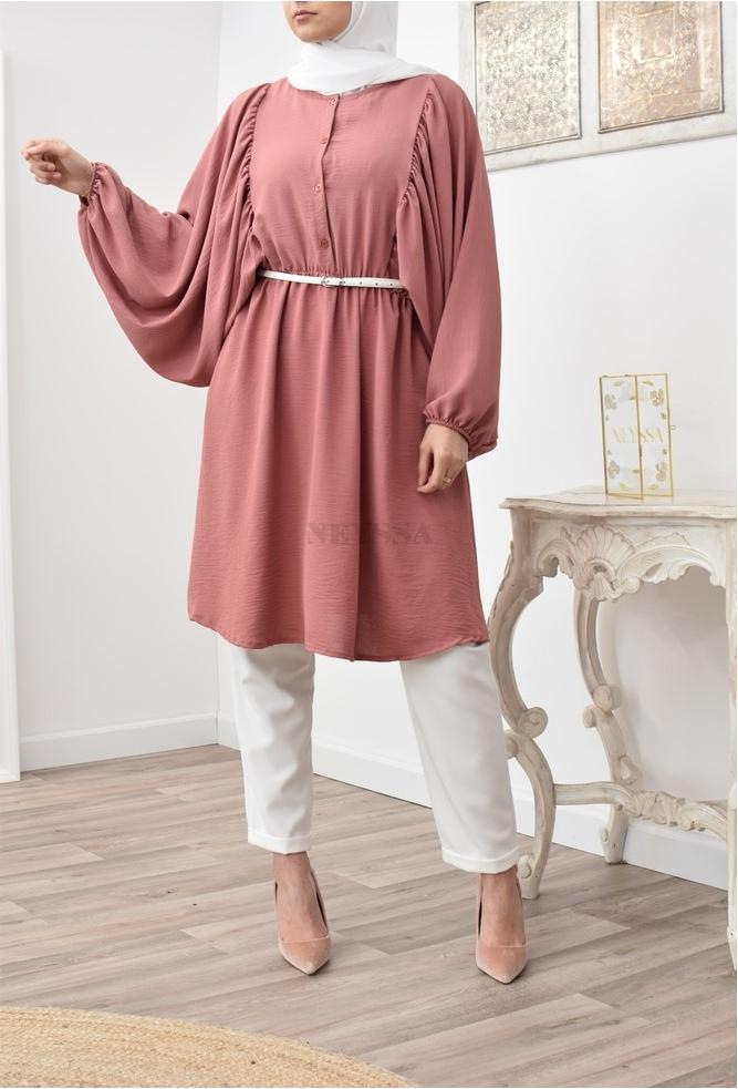 Fluid long tunic with butterfly sleeves