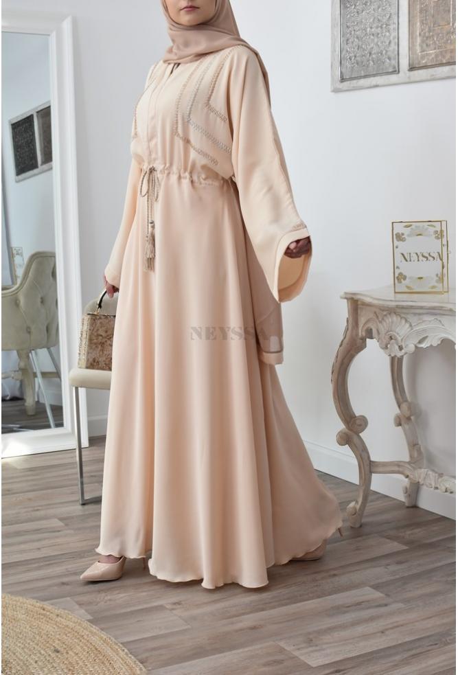 Abaya Dubai umbrella nidah beige doré