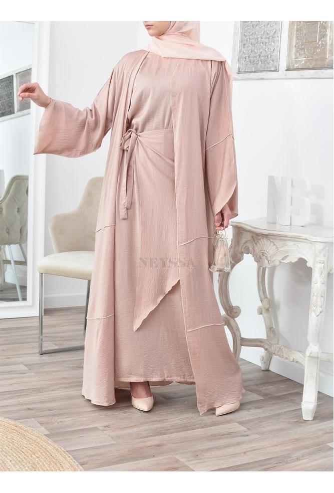 Open Abaya Dubaï 4 pieces Sharjah Praline