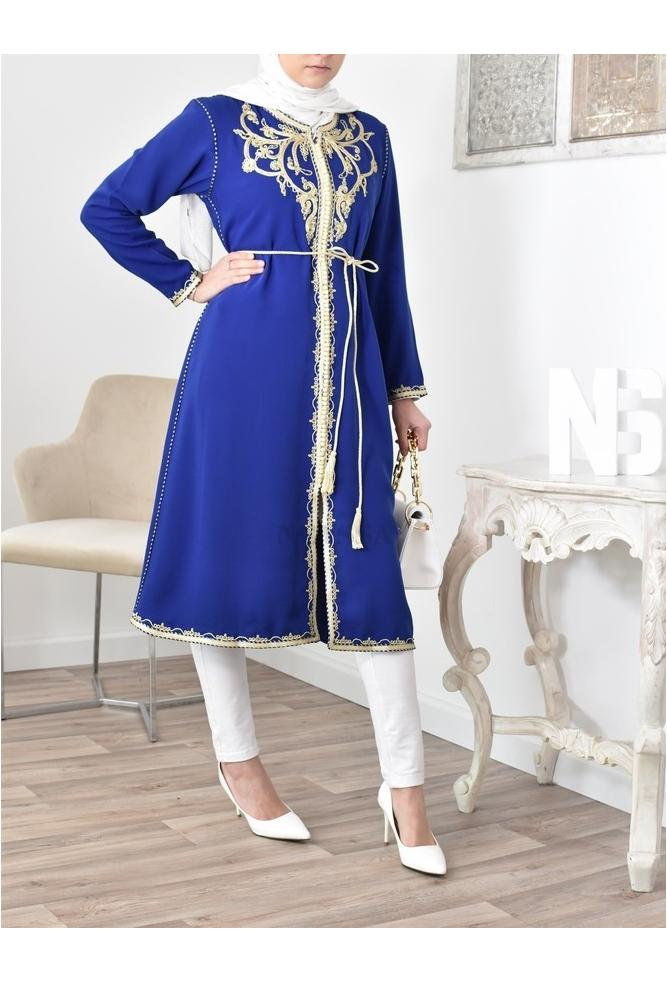 King Blue Caftan Tunic Moroccan couture