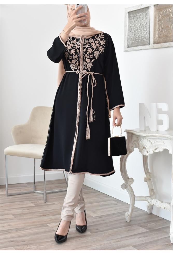 Black Tunic Caftan sfifa High quality
