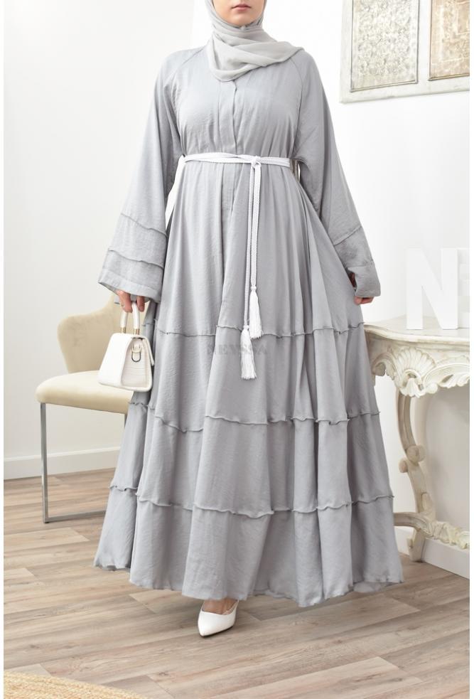 Abaya évasée soie de nidah gris clair