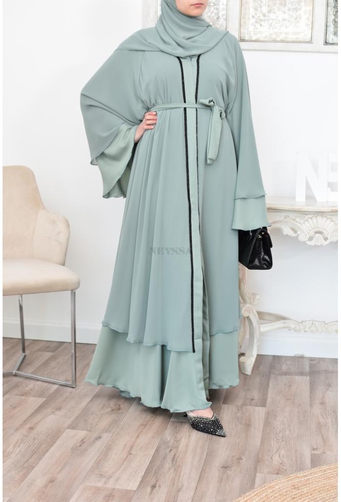 Abaya Dubaï évasée tenue de la femme musulmane