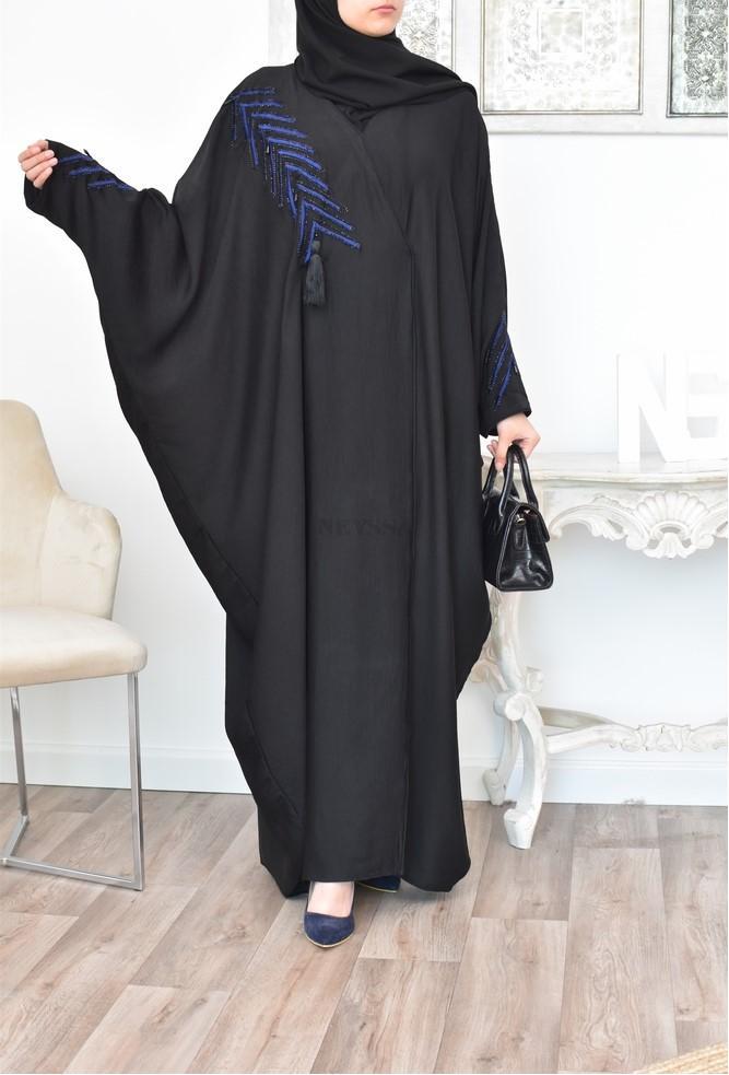 Abaya Dubaï Papillon ample noire