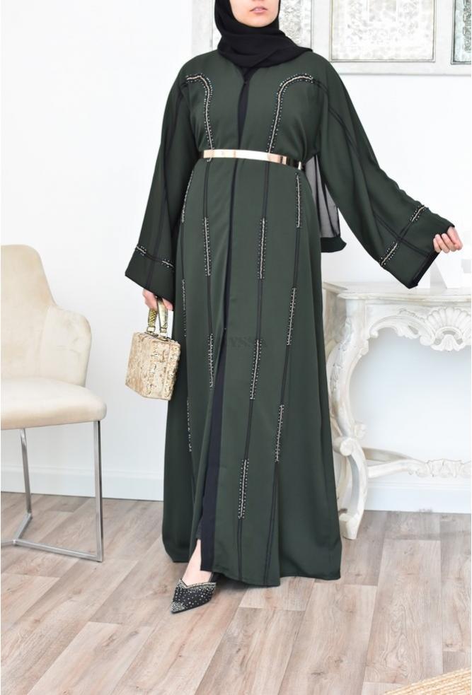 Abaya Kimono Dubaï Delia Vert Bouteille