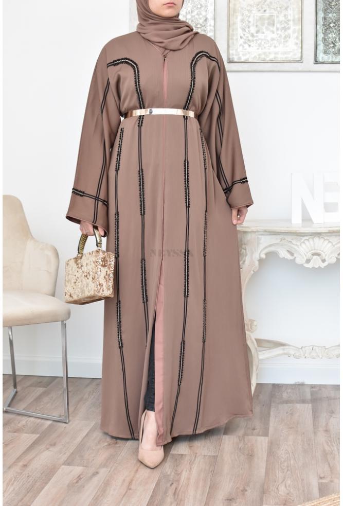 Abaya Kimono Dubai in Taupe colour.