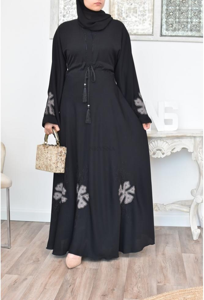 Abaya Dubai Noir parfaite pour le femme musulmane