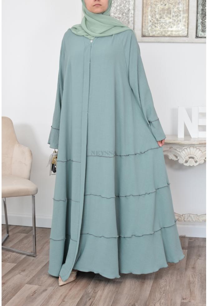 Abaya Volants shariqa Vert menthe