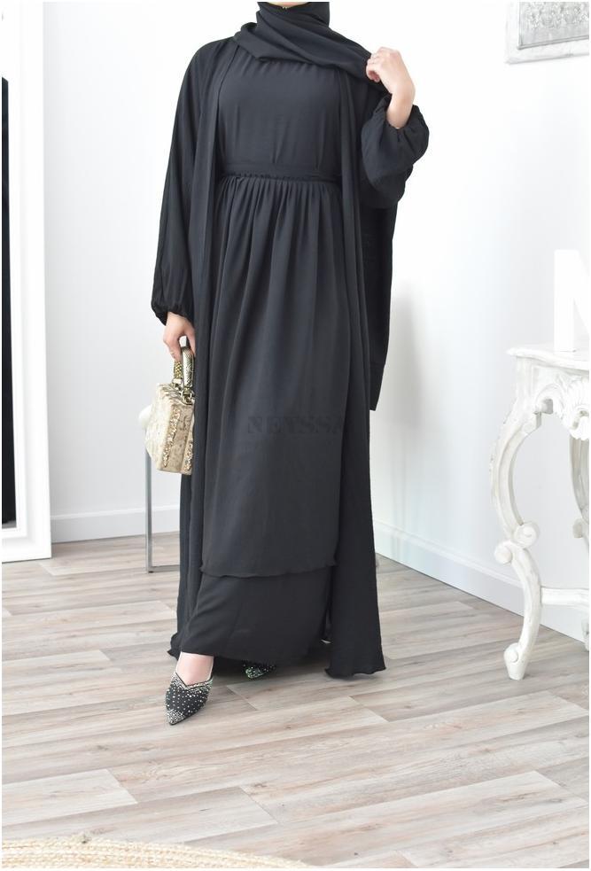 4-teiliges schwarzes Oman Abaya Set