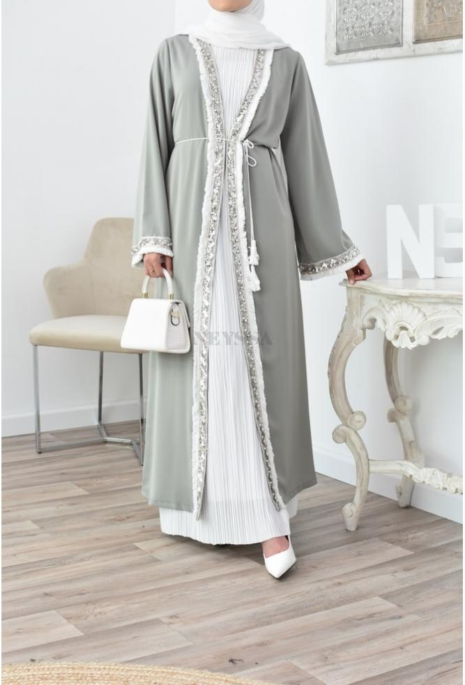 best Long flowing kimono with sequins for Eid and events: