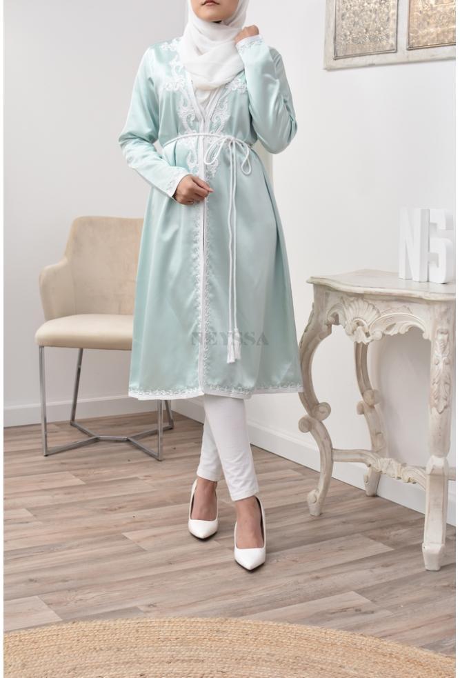 Kimono caftan Vert d'eau coupe parfaite pour les femmes voilées
