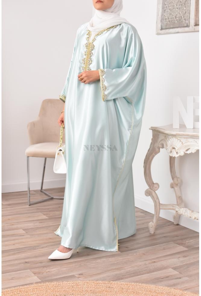 Abaya Gandoura vert eau parfaite pour femme voilée