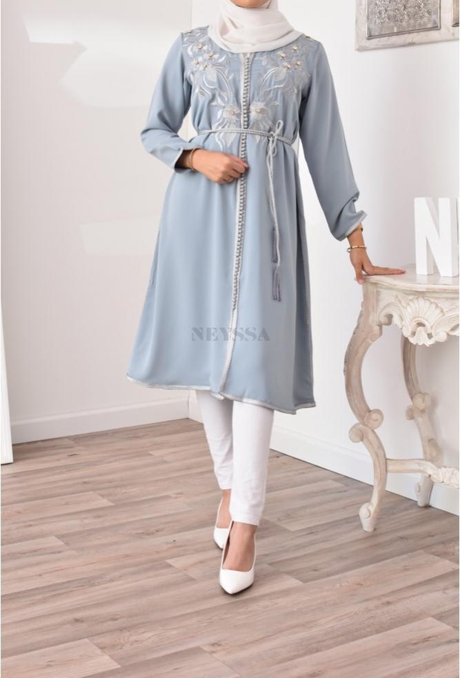 Blaue Jeans ausgestellte Kaftan-Tunika für muslimische Frauen